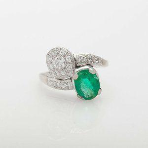 Vintage 1940s RETRO $5000 3ct Emerald Ring